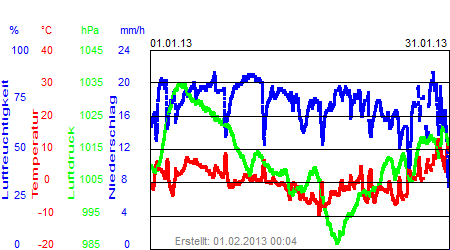 Grafik der Wettermesswerte vom Januar 2013