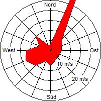 Grafik der Windverteilung vom Januar 2009